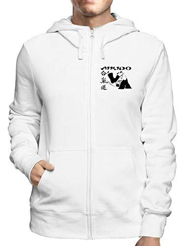 Sweatshirt Hoodie Zip Weiss WTC0998 Aikido Kanji Symbol Kanji-zip Hoodie