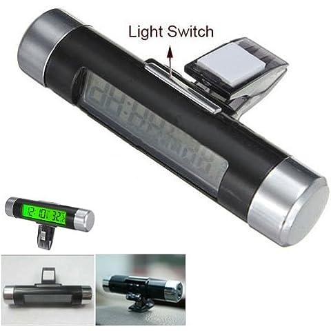 SODIAL(R) Dash Car Air Vent digital LCD Backlight Verde Clip-on Termometro Reloj Calendario