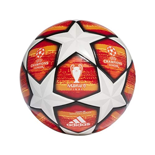 Adidas finale m j290, pallone calcio uomo, top:white/active red/scarlet/solar red bottom:bright orange/solar gold/black, 5