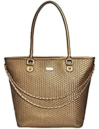 Satya Paul Women'S Gold PU Handbag - (35 X 14 X 32 Cm)