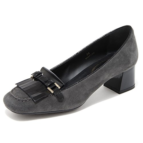 69805 decollete TOD'S GOMMA OY FRANGIA MORSETTO VINTAGE scarpa donna shoes women Nero/Grigio