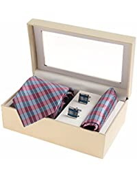 Sir Michele Designer Multi Micro Silk Tie, Pocketsquare and Cufflink Set for Men (Pack of 3)