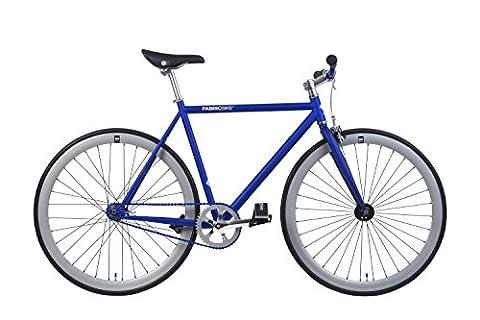 FabricBike- Vélo fixie bleu, fixed gear, Single Speed, cadre Hi-Ten acier, 10Kg (Matte Blue & Grey, S-49)