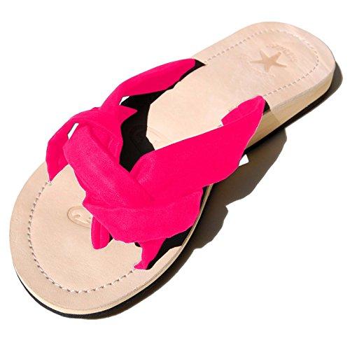 SEESTERN Damen Leder Zehentrenner Zehensandale Zehensteg Sandalen in Größe 36-44 Pink