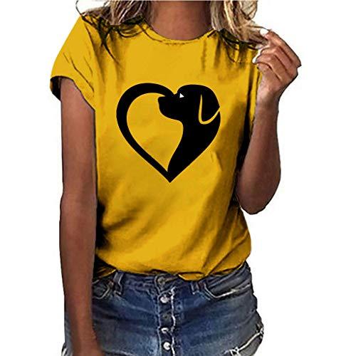 Oyedens Kostüm Damen Große Größen Weiß, Hund Herz Frau T-Shirt Print Kurzarm Top Plus Size Tshirt Shirt T-Shirt Oberteile Teenager Mädchen Schulterfrei