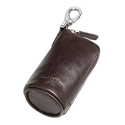 Reiner Farben-Leder-Schlüssel-Fall-Schlüsselketten-Beutel-Reißverschluss-Fall-Mappen-Auto-Schlüssel-Halter, Kaffee