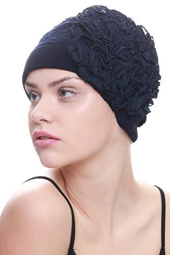Deresina Headwear Elegant Spitze Kopfbedeckung für Haarverlust, Krebs, Chemo (Marine)