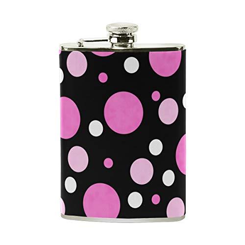 Orediy Petaca de acero inoxidable con diseño de lunares, color rosa y blanco, 8 onzas