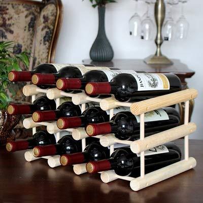 LEGOUGOU 12 Bottle Modular Wine Rack - Hochwertiges Buchenholz - Sehr Robust Und Hält Lange - Praktisch Und Kompakt - Modular Wine Rack