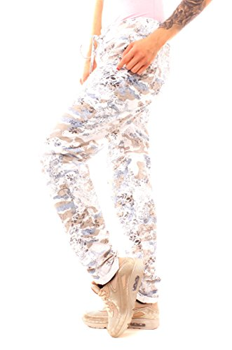 8ab0bb972ada43 Easy Young Fashion Damen Hose Sweathose Freizeithose lang mit floralem  Camouflage Military-Muster onesize Weiß ...