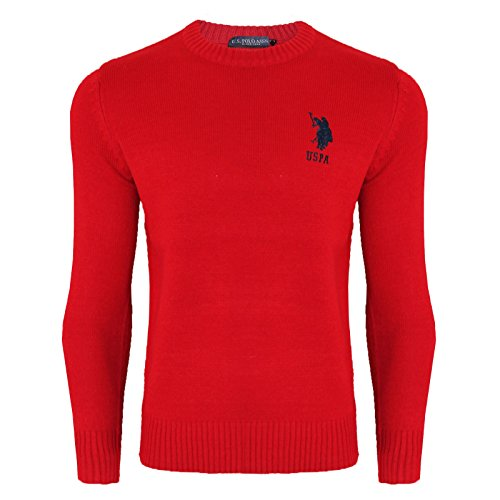 2k17Aug MENS US POLO ASSN KNITWEAR SWEATER JUMPER CREW NECK LONG SLEEVE TOP[Red,L]