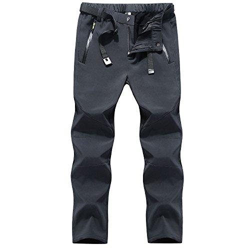 LHHMZ Uomo Resistente all'Acqua Soft Shell Pile da Trekking Pantaloni da Arrampicata su Neve Pantaloni da Sci Slim Fit