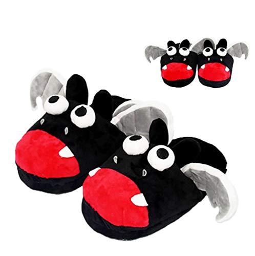 SHANGXIAN Erwachsene Zuhause Damen Hausschuhe Schwarze Fledermaus Niedlich Karikatur Schuhe Innen Pelzig warm Rutschfest Flach ()