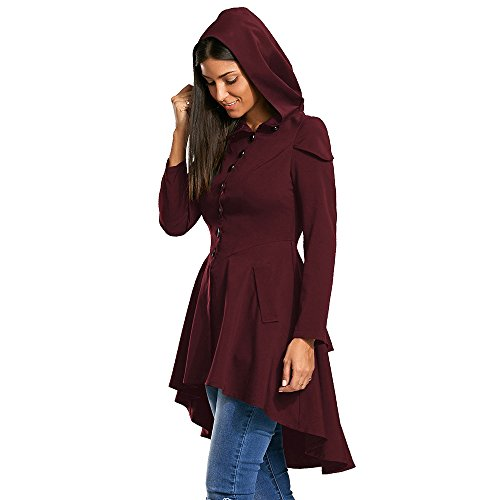 ZAFUL Womens Layered Lace Up High Low Hooded Long Sleeved Cardigan Long Elegant Vintage Jackets Irregular Cocktail Formal Kimono Knitted Outwear Trench Coat(Wine RED 38) -