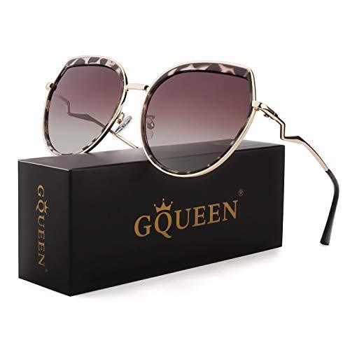 GQUEEN Oversized Cat Eye Polarisierte Sonnenbrille für Frauem UV400 Metallgestell MF6
