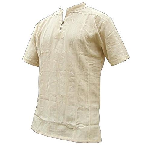 PANASIAM Fisherman Hemd, aus 100% echter freshrunk Baumwolle, naturweiss,