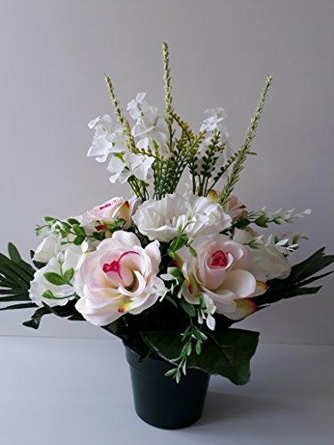 Composition de de fleurs artificielles lesté totalement ciment pour cimetière... Haut 42cm - Diam 38/40cm