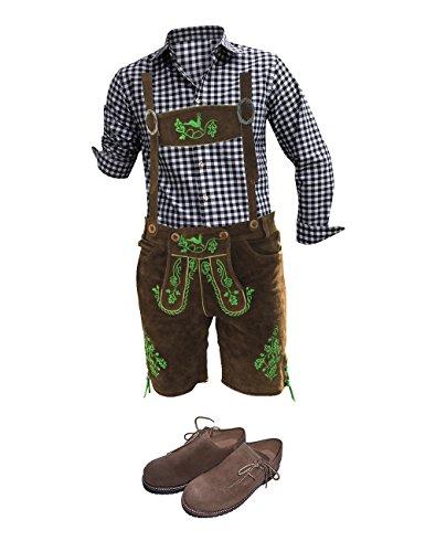 Trachten Anzug Plattler Lederhosen+Hemden+Kniestrümpfe+(Haferl) Schuhe+Träger Echt Leder Braun Dark Herren (46)