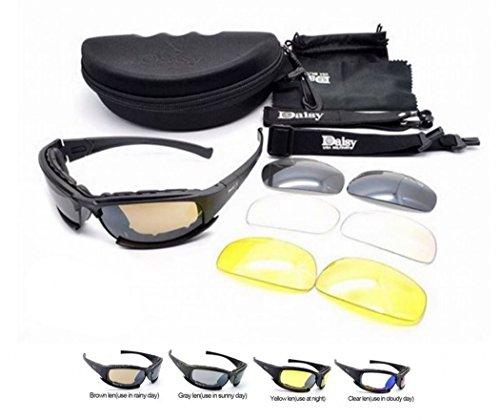 Preisvergleich Produktbild NEU POLARISIERT Daisy X9 Militärische taktische Sport Armee Eyewear Outdoor Goggles 4 Linsen Gläser Sonnenbrillen,  Angeln,  Klettern,  Schießen und Gehen