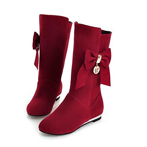 AgooLar Damen Niedriger Absatz Rein Rund Zehe Ziehen auf Stiefel, Rot, 37