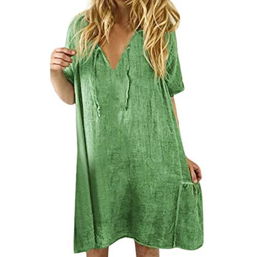 AMUSTER Damen Sommerkleider Retro Style Print Shirt Mit V-Ausschnitt Baumwolle Und Leinen Lässig Plus Größe Lose Tunika Freizeitkleider Leinenkleid -