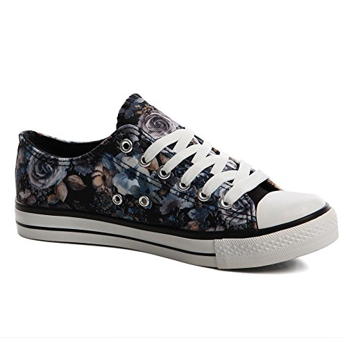 topschuhe24, Sneaker donna Nero (Black Print)