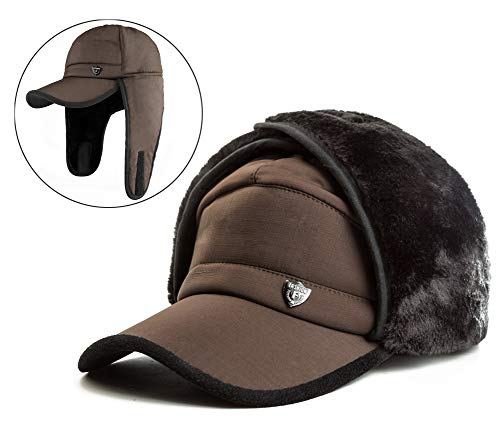 Yooeen Herren Classical Military Army Cap mit Ohrenklappen Ohrwärmer Warme Wintermütze Fliegermütze Kunstfellmütze