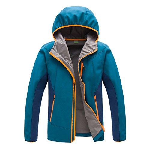 CIKRILAN Homme Imperméable Coupe-Vent Capuche Veste Softshell Outdoor Sport Veste de Camping Randonnée Marche Escalade (X-Large, Bleu)