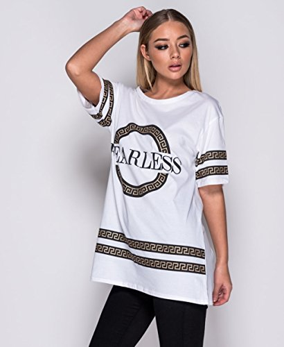 Momo&Ayat Fashions T-Shirt Imprimé Slogan Imprimé «Fearless» Pour Femme EUR Szie 36-42 Blanc
