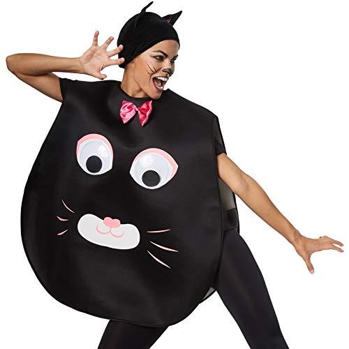 dressforfun 302191 - Unisex Kostüm Katze, Poncho in Einheitsgröße, Stoffmütze mit Spitzen Ohren (Kostümen Die In Halloween-katze, Den)