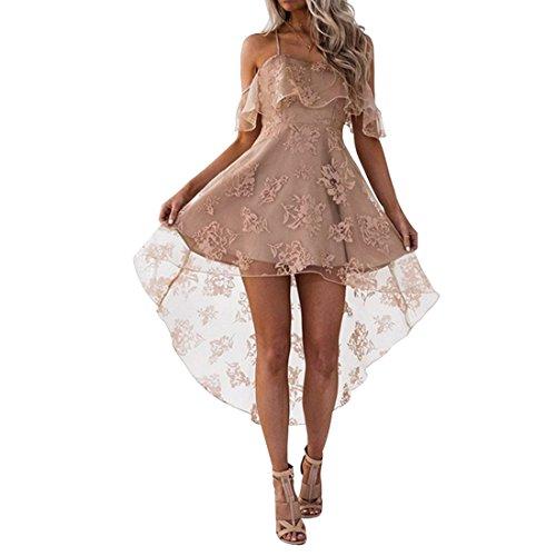 Rocke Kurze Prom Party Kleider Frauen Rüschen Ärmel Spaghetti Strap Mesh Brautjungfernkleid (Farbe : Aprikosen, Size : M) -