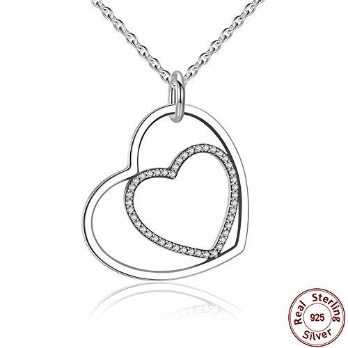 BYEONE Klassische 925 Sterling Silber Herz Zu Herz Anhänger Halskette, Klar Cz Anhänger Halskette Für Frauen Edlen Schmuck