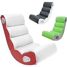 FineBuy son président WAVE Gaming similicuir Fauteuil multimédia blanc / rouge Speaker Boxes Jeu président