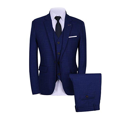 Mens Slim Plaid 3 Stück Anzug Set Blazer + Weste + Hosen DE 50 (Plaid-weste Stück 3)