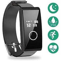 METALBAY Pulsera de Activedad, Smartband Monitor de Frecuencia Cardíaca en Tiempo Real, IP67 Impermeabilidadd, Negro