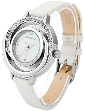 Dictac Damen Armbanduhr mit echtem Leder-Uhrenarmband höltes Perle Fritillaria Zifferblatt Swarovski Kristall...
