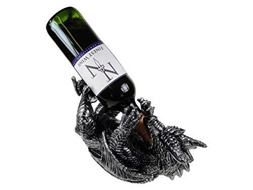 Hunky Dory Gifts Gothic Dragon WEINFLASCHENHALTER Stone Effect Gruesome Fantasy Decor Boxed