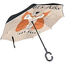 Bennigiry Fox - Paraguas invertido, doble capa, plegable, resistente al viento, protección UV, con mango en forma de C para mujeres y hombres, Multi#008, talla única