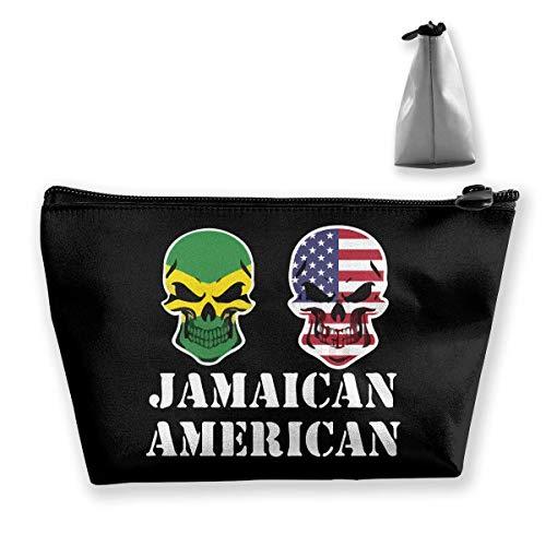 Jamaikanische amerikanische Flagge Schädel-Reise-Kulturbeutel-Taschen-tragbare Make-upfälle -