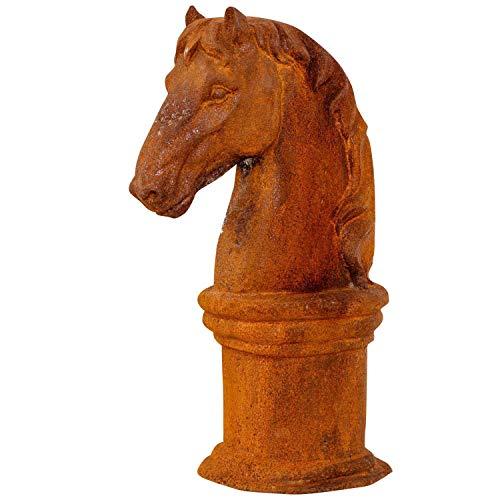 aubaho Pferdekopf Sockel Skulptur Eisen Figur Pferd Garten Schachfigur Horse Iron rost -