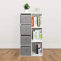 GOTOTOP White 7 Cube Bookshelf Bookcase Display Shelf Storage Freestanding Cabinet Unit & 4 Grey Storage Drawers for Office Home, 50 x 24 x 106cm