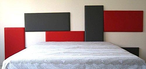 Ponti divani - puzzle - pannello imbottito per testiera letto componibile 46x84 ecopelle grigio scuro