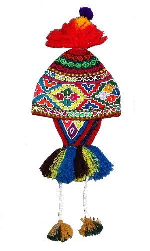 Alpacaandmore Handgestrickte mehrfarbige typische peruanische Cusquena Damen Trachten Chullo aufwendige Pailletten Strickweise (Peruanische Tracht)
