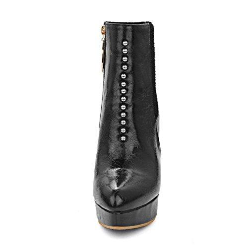 TAOFFEN Damen Knöchelriemchen Reißverschluss Spitze Toe Plateau Stiefel Stilett Mode Elegant Schuhe Schwarz