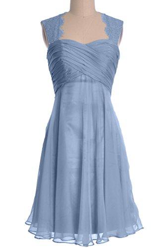 MACloth Women Lace Straps Chiffon Short Bridesmaid Dress Cocktail Formal Gown Himmelblau