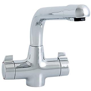 Modern Monobloc Dual Lever Chrome Kitchen Sink Mixer Tap (1003)