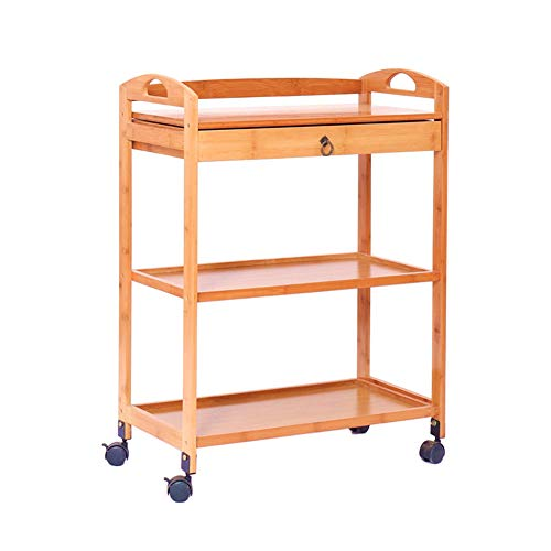 COOCAQI+Trolley Bambus Küche Servierwagen Rollwagen mit Schublade, Home 3-Tier Aufbewahrungswagen, Hotel Dining Tea Cart