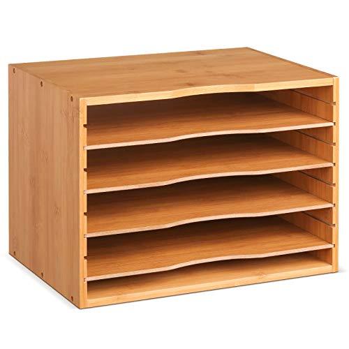 Homfa Bambus Dokumentenbox Einlegebodens ausziehbar 5 Ablagen 33x24.6x26cm Schreibtisch Organizer...