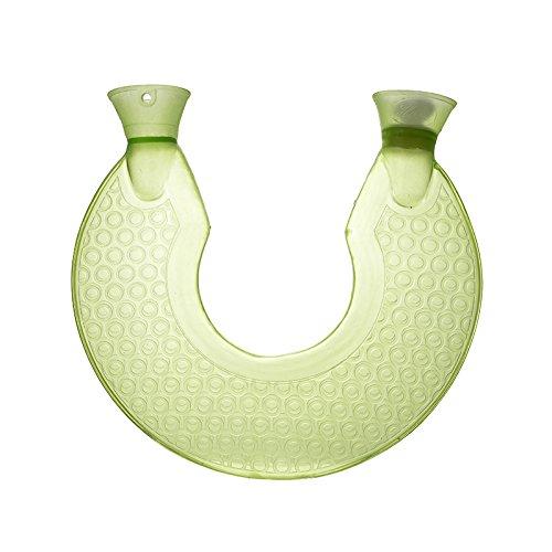 Hot Water Bottle,U Type Transparent PVC Rubber Bottle,Shoulder Warm Neck Hot Water Bag (Green)