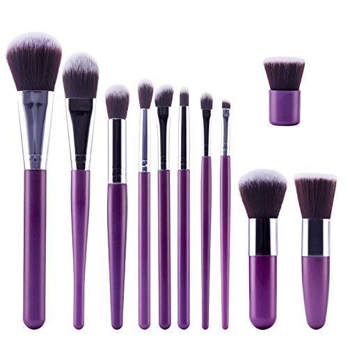 TOPBeauty Kit de Pinceau maquillage Professionnel 11 PCS Ombre a Paupiere Dore Blush Fondation Pinceau Poudre Fond de teint Anti-cerne Kit Pinceaux Purple Gold